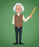 Character scientist physical holding ruler green background Stock Photography