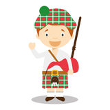 Character from Scotland dressed in the traditional way with kilt and bagpipes. Royalty Free Stock Images