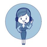 Character secretary with headset Stock Photography