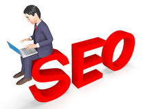 Character Seo Means Business Person And Executive 3d Rendering Royalty Free Stock Photography