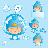 Character set of a boy in blue bird costume. Character set of happy boy in blue bird costume in 4 different pose Stock Images