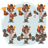 Character Set Bull Football Player Holds Cup Money Dumbbell Royalty Free Stock Photography