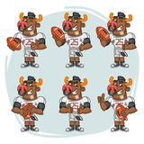Character Set Bull Football Player Holds Rectangular Ball Royalty Free Stock Images