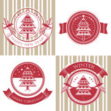 Character set with Christmas tree Royalty Free Stock Photography