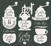 Character set for coffee house with coffee grinder. Vector set of design elements and symbols for coffee house with coffee grinder, coffee cup, coffee beans and Stock Photos