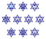 Character set containing symbols hexagram on the surface of the water and the sun  Royalty Free Stock Photo