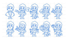 Character set cupid in various versions scribble part 2 Royalty Free Stock Photography