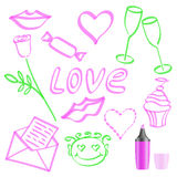 The character set for the day of lovers. Painted marker. Vector vector illustration