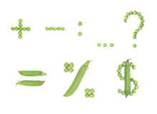Character set with green peas Royalty Free Stock Photos