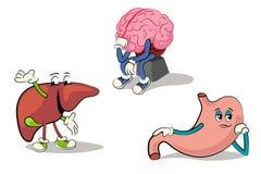 Character set internal organs 2. Cartoon characters of human internal organs Stock Images