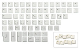 Character set made of keyboard keys. Alphabet, numbers and some other keyboard keys (intro, F1, shift, etc.) shot individually under the same lighting conditions Royalty Free Stock Photos