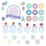 Character set of the new year snowflake. Funny snowman, Christmas tree, gifts isolated on white background. Vector illustration vector illustration