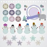 Character set of the new year snowflake, snowman,. Sheep, Christmas tree, gifts vector illustration