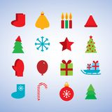 Character set new year snowflakes, socks, mittens. Character set new year snowflCharacter set new year snowflakes, socks, mittens, Christmas tree, gifts, sleigh Stock Photo