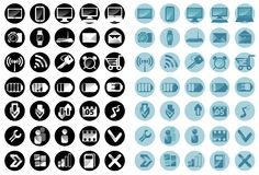 The character set. For phone, Internet black and light blue background Stock Image