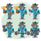 Character Set Rhino Football Player Holds Cup Money Dumbbell Royalty Free Stock Image