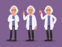 Character set of a scientist. Discovery in science. Vector illustration in cartoon style Stock Image