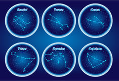 The character set of the stars of the zodiac. Set2.  Royalty Free Stock Photos