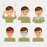Character set. Various painful symptoms in human Stock Images