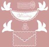 Character set wedding with doves Stock Photography