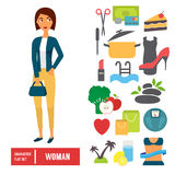 Character set, woman. Casual cloth with icons Stock Photography