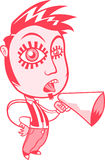 Character with sideburns and a goatee with a megaphone. Character with sideburns and a goatee wearing a white shirt and tie, yelling in a cardboard megaphone Royalty Free Stock Images