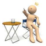 A character sitting on director`s chair is  instructing. 3D illustration Stock Photography