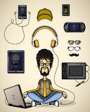 User with a laptop meditates surrounded devices Stock Images