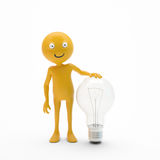 Character smiley with a light bulb. 3D character smiley with a light bulb Stock Photo