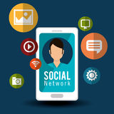 Character social media cellphone icons Royalty Free Stock Image