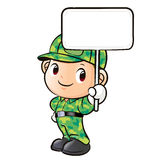 The character of a soldier holding signs Royalty Free Stock Photography