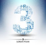 Character sort for number three logo  future technology. Design Stock Image