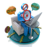 Character spammer with a megaphone and bubbles speech with spam. 3d character spammer with a megaphone and bubbles speech with spam in the design of information Royalty Free Stock Photo