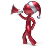 Character speaking megaphone Merry Christmas Santa hat man. Character speaking megaphone Merry Christmas Santa Claus hat man New Years Eve holiday sale news Stock Photo