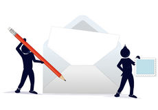 Character with a stamp and an envelope Stock Images