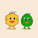 Character of star and egg in happy mood. Stock Photos