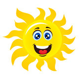 Character Sun with happy smile. Sun isolated on white. Vector stock Stock Images