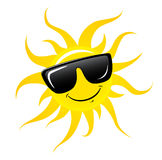 Character Sun in sunglasses and happy smile. Sun and glasses isolated on white. Vector stock Stock Image
