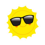 Character Sun in sunglasses and happy smile. Vector Illustration Royalty Free Stock Image