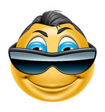 Character with sunglasses smiling Stock Photo