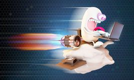 Character surfing the net. Cartoon character surfing the net at high speed on a cloud, 3d rendering Stock Photo