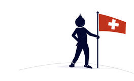 Character with a swiss flag Royalty Free Stock Photography