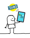 Character with tablet - jobs. Cartoon character with tablet - jobs royalty free illustration