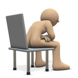 Character is telling something sitting on a chair. Stock Photography