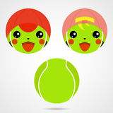 Character tennis ball. Cute laughing boy and a girl. Stock Photos