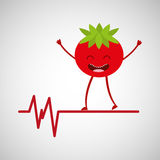Character tomato healthy, heartrate icon background Stock Images