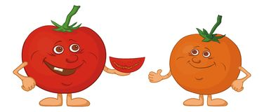 Character tomatoes friends Royalty Free Stock Image