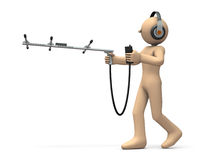 Character is tracking targets with antenna. Royalty Free Stock Photos