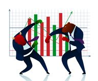 Character Trader Bear Beats Bull Commerce Report. People Planning Winner in Stock Market. Finance Diagram Growth. Strategy Attack Conflict Economic Manager vector illustration