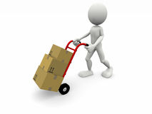 A character transport some boxes Royalty Free Stock Photos